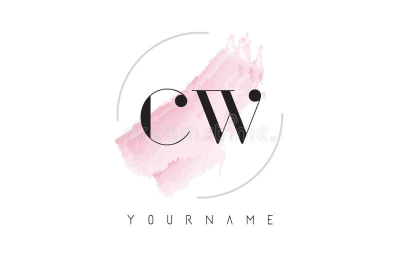 Lettre Logo Design d'aquarelle de l'onde entretenue C W avec le modèle circulaire de brosse illustration stock