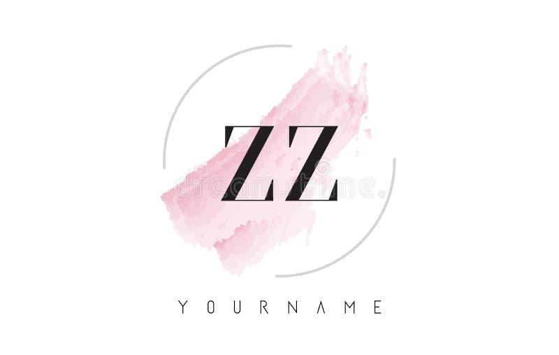 Lettre Logo Design d'aquarelle de ZZ Z avec le modèle circulaire de brosse illustration stock