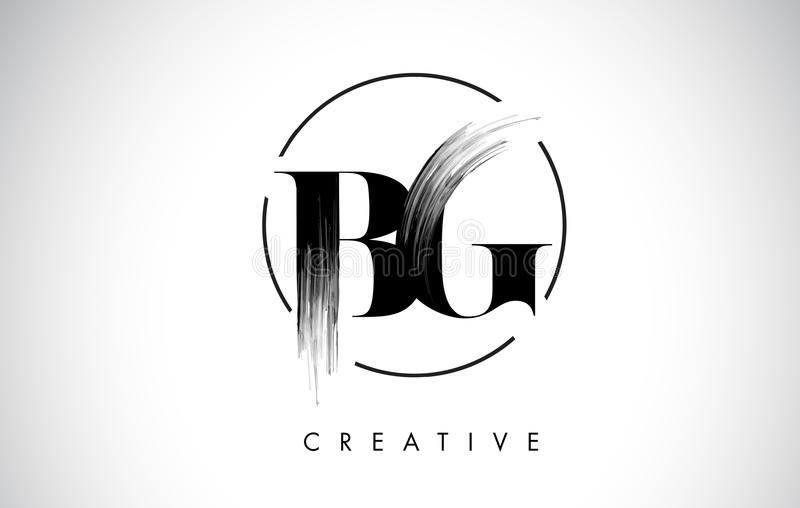 Lettre Logo Design de course de brosse de la BG Peinture noire Logo Letters Icon illustration de vecteur