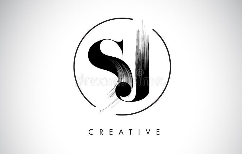 Lettre Logo Design de course de brosse de SJ Peinture noire Logo Letters Icon illustration libre de droits