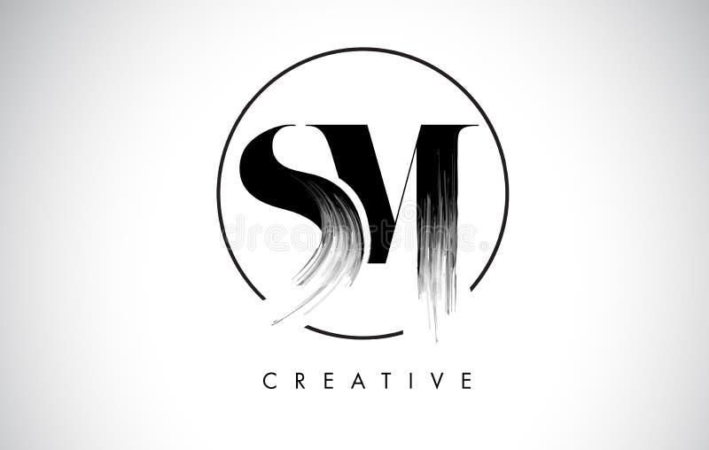 Lettre Logo Design de course de brosse de SM Peinture noire Logo Leters Icon illustration stock