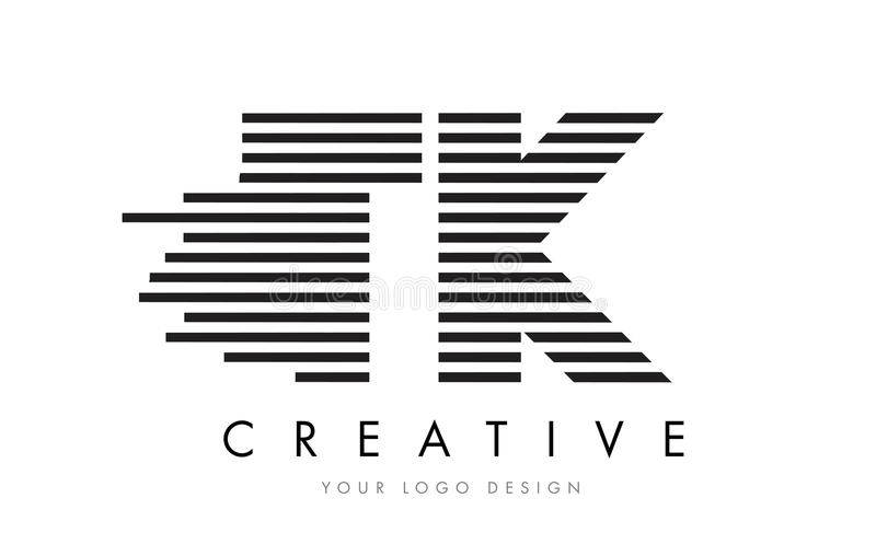Lettre Logo Design de zèbre de TK T K avec les rayures noires et blanches illustration stock