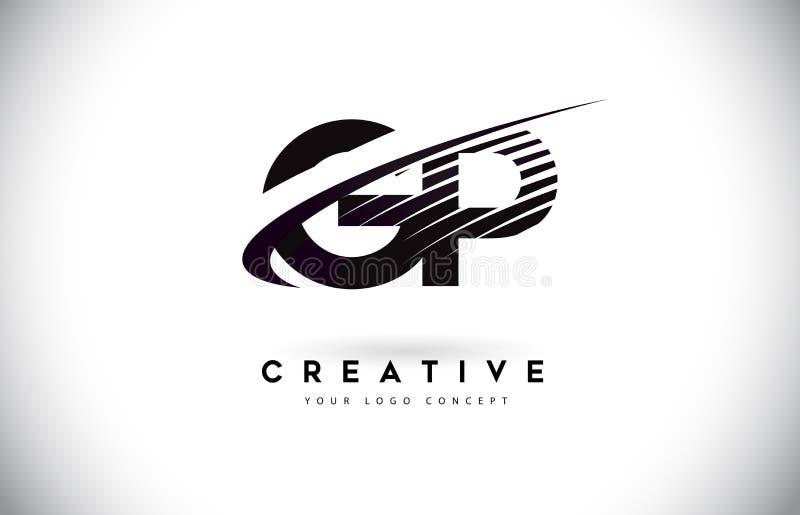 Lettre Logo Design du généraliste G P avec le bruissement et les lignes noires illustration stock