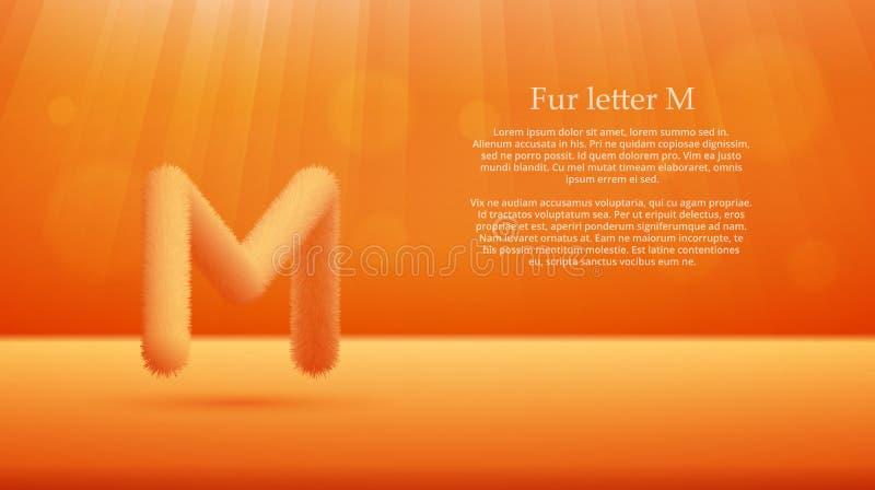 Lettre M de fourrure au-dessus de fond de pièce de studio de gradient de couleur de mangue ou de mandarine illustration de vecteur