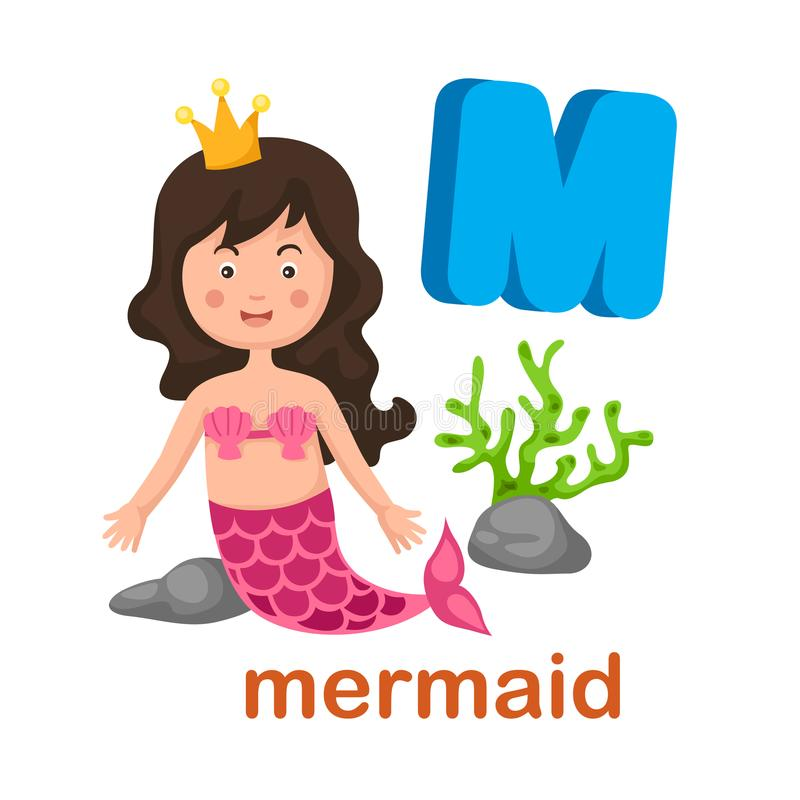 Lettre M Mermaid d'alphabet d'isolement par illustration illustration libre de droits