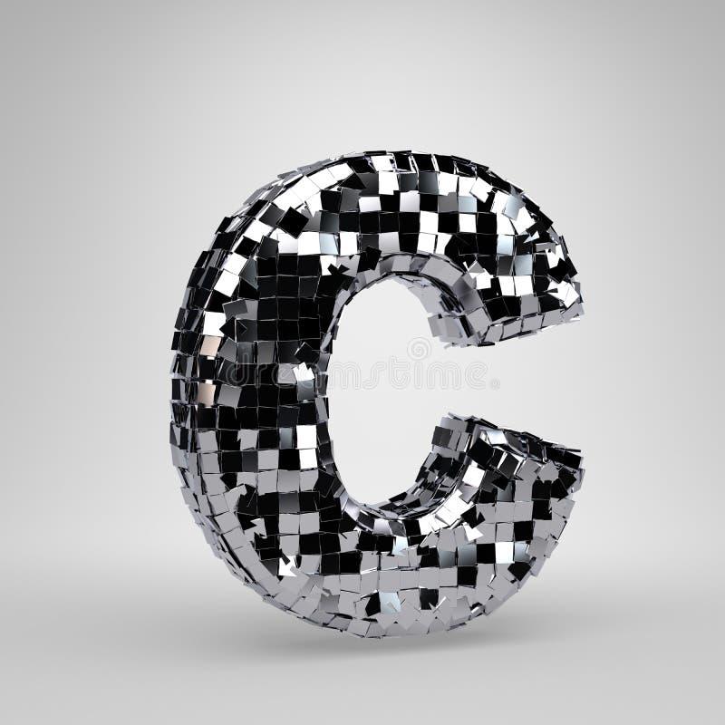 Lettre majuscule C de boule de disco de Chrome d'isolement sur le fond blanc r illustration libre de droits
