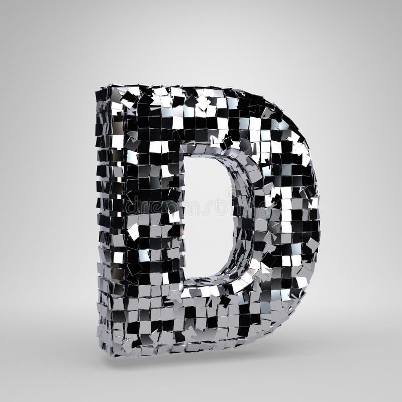 Lettre majuscule D de boule de disco de Chrome d'isolement sur le fond blanc r illustration de vecteur