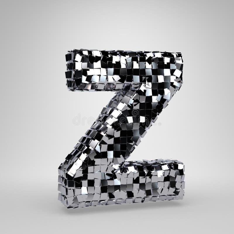Lettre majuscule Z de boule de disco de Chrome d'isolement sur le fond blanc r illustration de vecteur