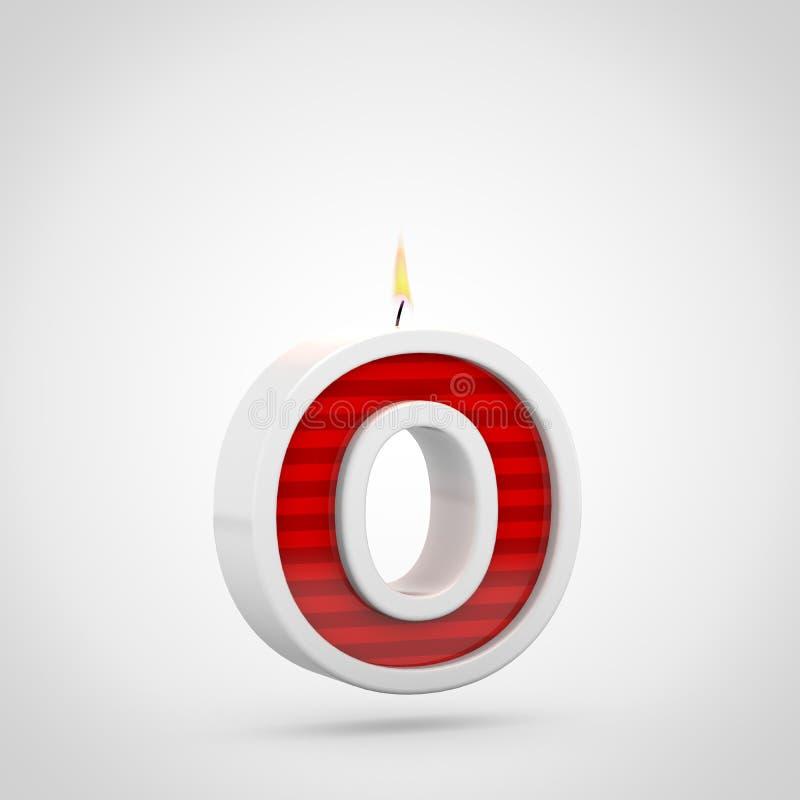 Lettre minuscule de la lettre O de bougie d'anniversaire d'isolement sur le fond blanc illustration de vecteur