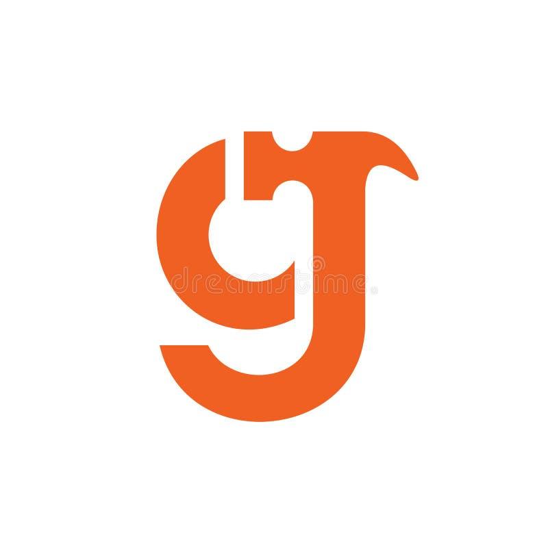 Lettre minuscule g ou logo de marteau de cj, conception d'icône de constructeur de maisons, couleur orange - vecteur illustration stock