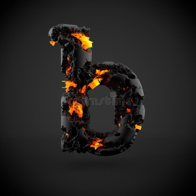 Lettre minuscule volcanique de la lettre B d'alphabet d'isolement sur le fond noir images stock