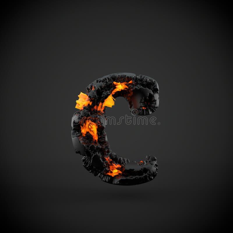 Lettre minuscule volcanique de la lettre C d'alphabet d'isolement sur le fond noir photos libres de droits