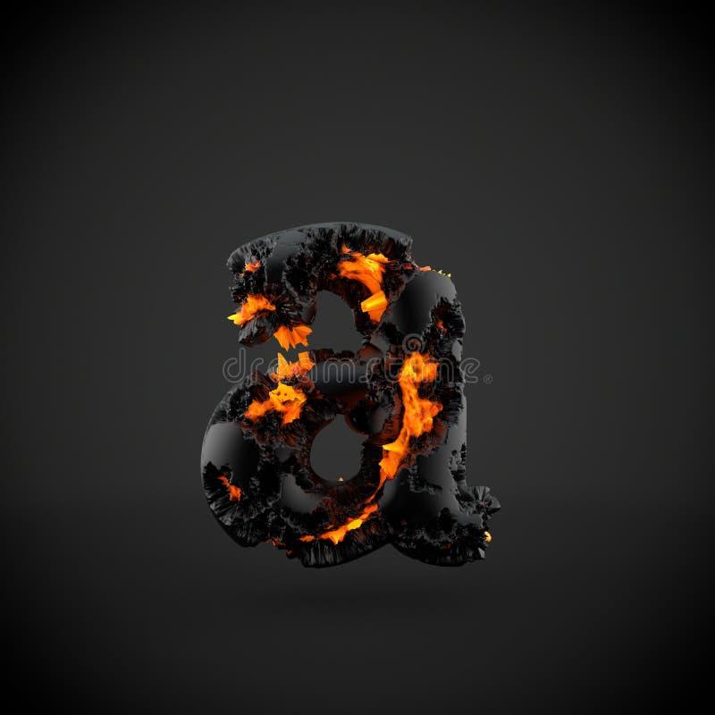Lettre minuscule volcanique de la lettre A d'alphabet d'isolement sur le fond noir illustration de vecteur