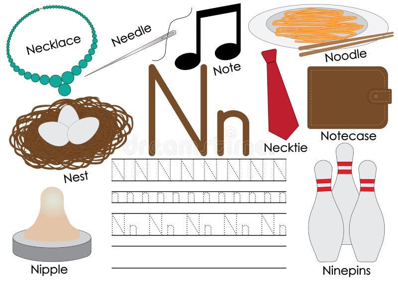 Lettre N Alphabet anglais Éducation pour des enfants Pratique en matière d'écriture des minuscules capitales et illustration libre de droits