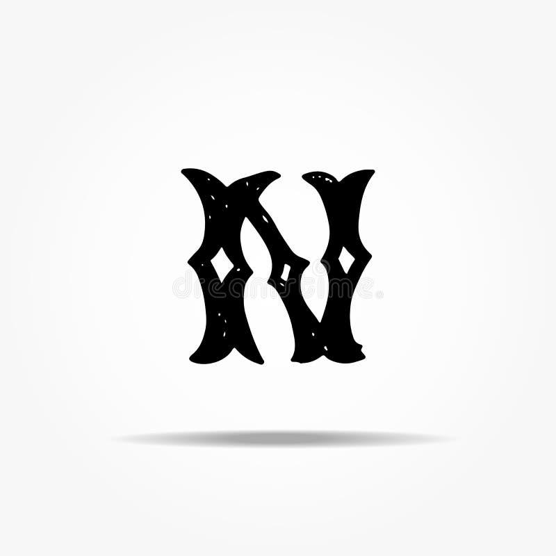 Lettre N antique Lettrage grunge de vecteur occidental gothique tiré par la main de police de vintage Illustration de vecteur illustration de vecteur