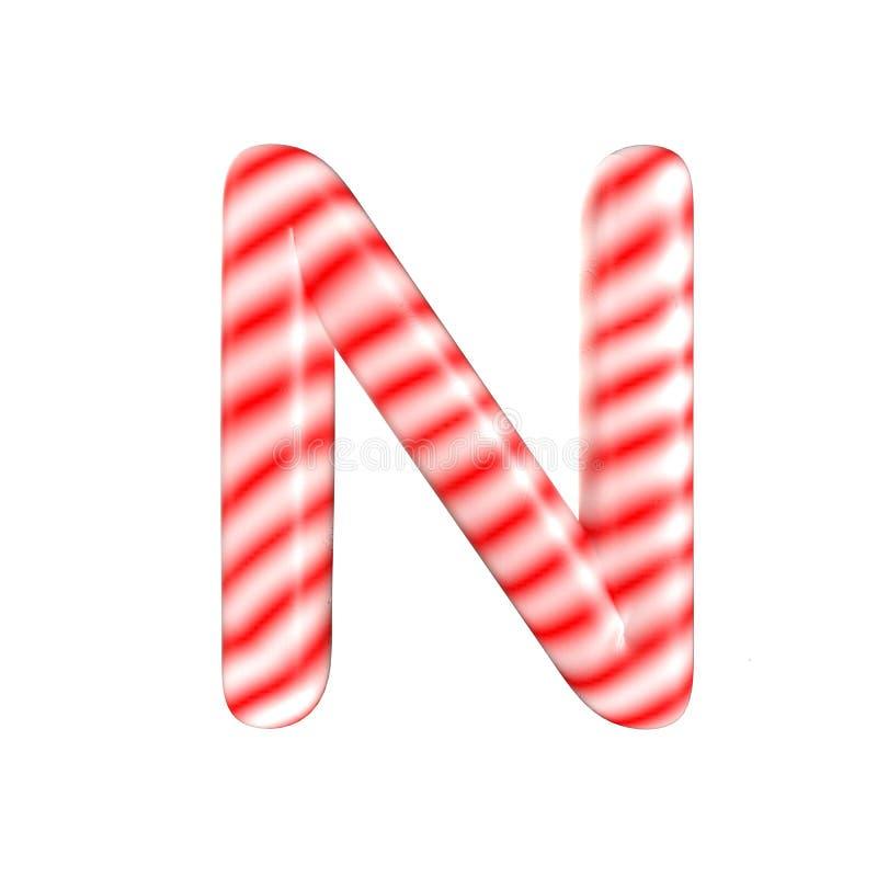 Lettre N blanche rouge de sucrerie d'isolement sur le fond blanc image stock