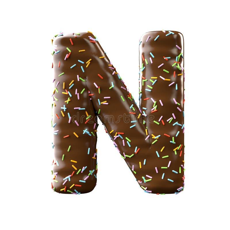 Lettre N de chocolat d'isolement sur le fond blanc illustration stock