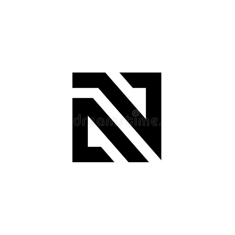 Lettre N Logo Icon Design Template, emblème carré abstrait, blanc sur le fond noir - vecteur illustration stock