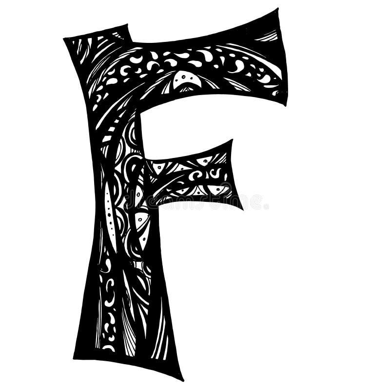 Lettre noire élégante F Gribouillez le type Beau logo de calligraphie illustration libre de droits