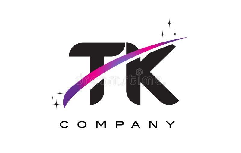 Lettre noire Logo Design de TK T K avec le bruissement magenta pourpre illustration libre de droits