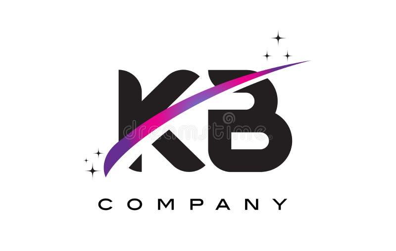 Lettre noire Logo Design du KB K B avec le bruissement magenta pourpre illustration de vecteur