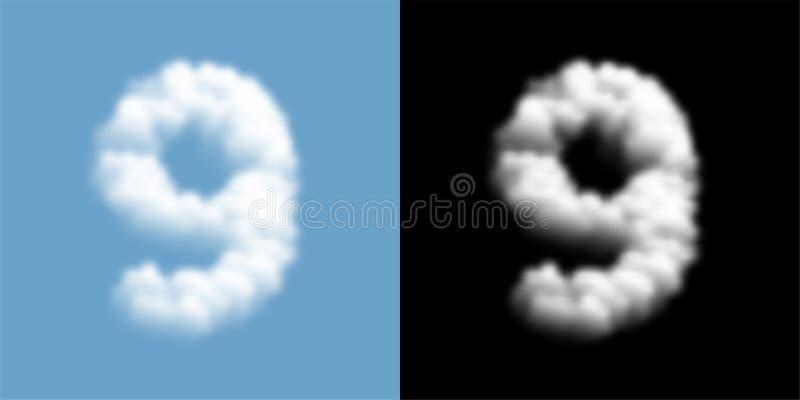 Lettre numéro neuf ou d'ensemble d'alphabet modèle du nuage 9 ou de la fumée, flotteur d'isolement par illustration transparente  illustration de vecteur