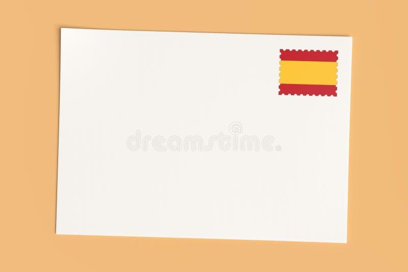 Lettre Ou Carte Postale D'Espagne : Carte blanche vierge avec timbre d'affiche du drapeau espagnol, illustration 3d illustration de vecteur