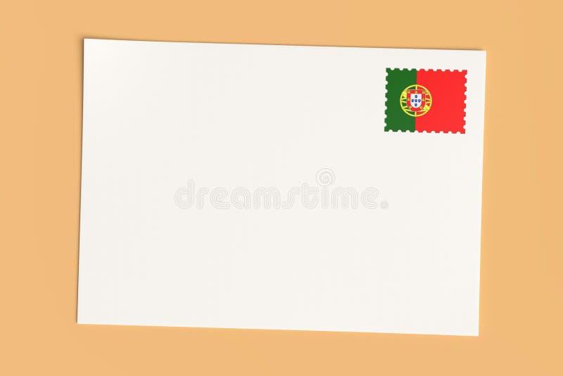 Lettre Ou Carte Postale Du Portugal : Carte blanche vierge avec timbre d'affiche du drapeau portugais, illustration 3d illustration de vecteur