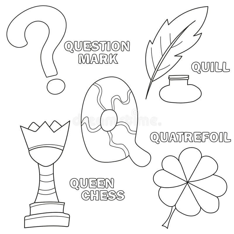 Lettre Q Étude de l'alphabet anglais Livre de coloration Illustration de vecteur illustration libre de droits