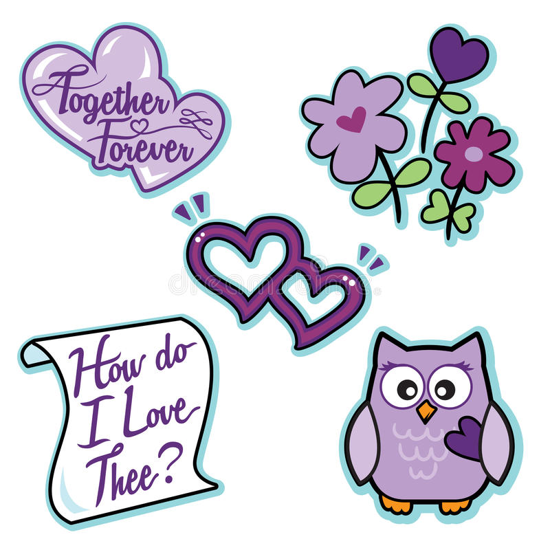 Lettre réglée de coeurs de hibou de fleurs d'icône pourpre d'amour de Valentine illustration de vecteur