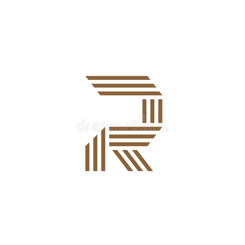 Lettre R faite en logo de trois rayures illustration stock