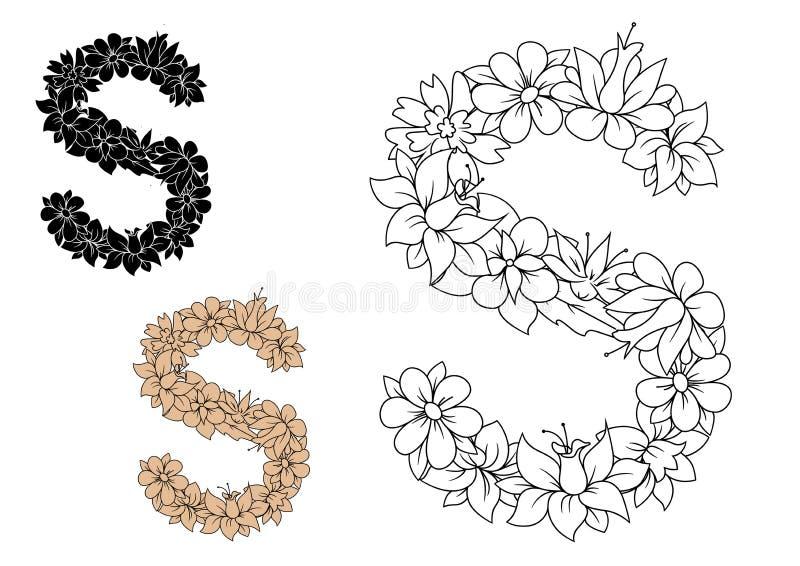 Lettre S composée avec le modèle des fleurs illustration libre de droits