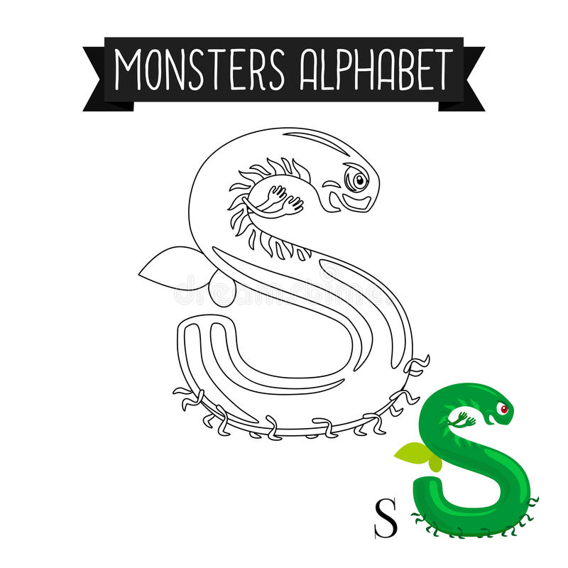 Lettre S d'alphabet de monstres de page de coloration illustration stock