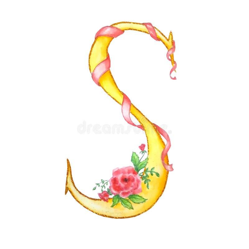 Lettre S jaune d'aquarelle avec les roses et le ruban illustration libre de droits