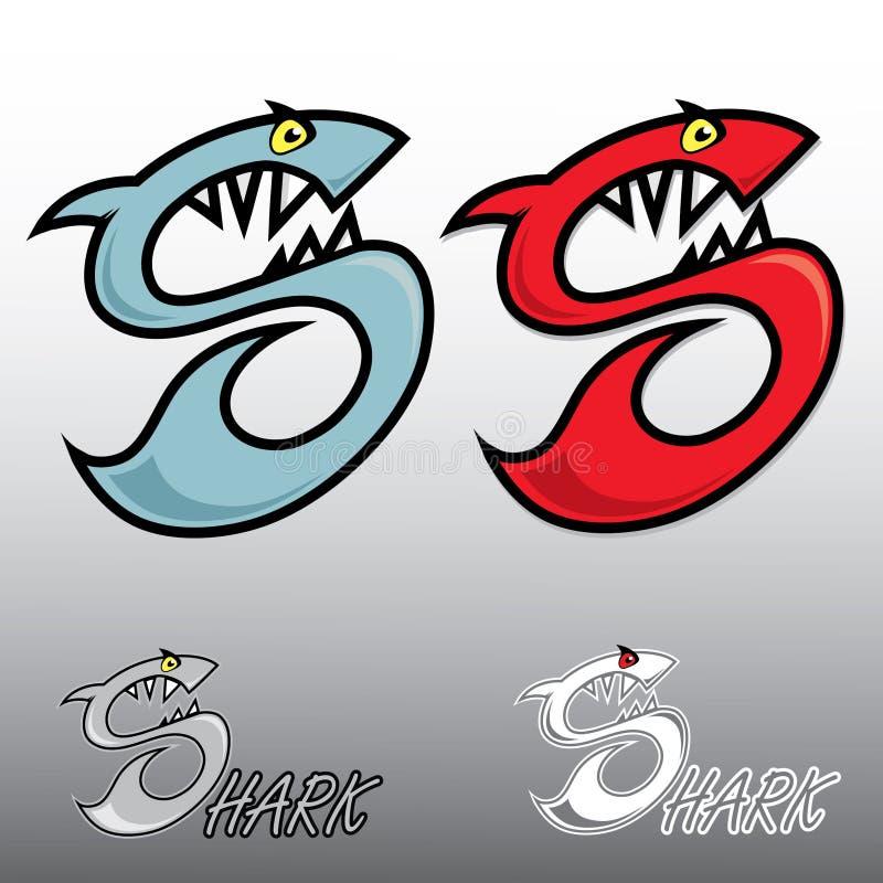 Lettre S stylisée sous forme de requin illustration stock