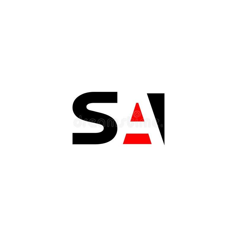 Lettre SA pour l'élément de marquage à chaud de lettre de logo de conception de société illustration stock