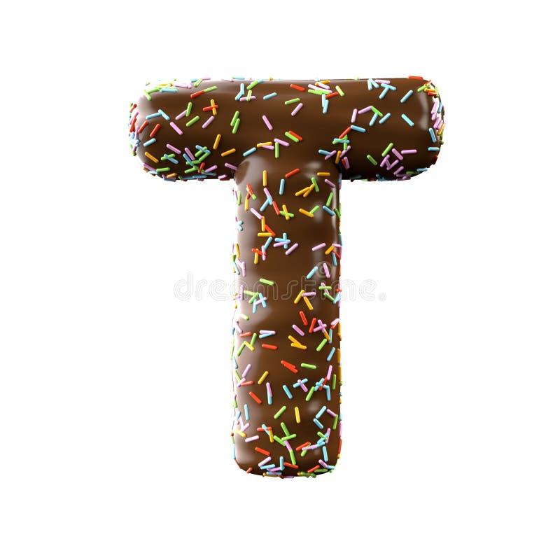 Lettre T de chocolat d'isolement sur le fond blanc illustration libre de droits