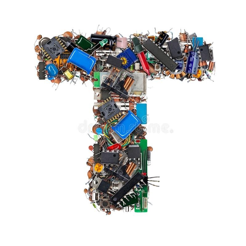 Lettre T faite de composants électroniques image libre de droits