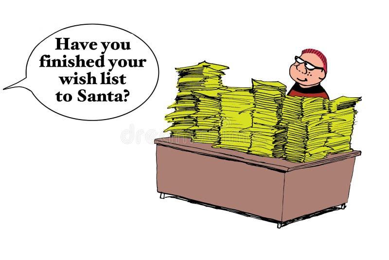 Lettre TRÈS longue pour Santa Claus illustration libre de droits
