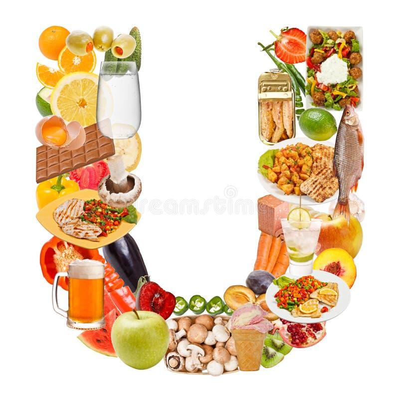Lettre U faite de nourriture images libres de droits