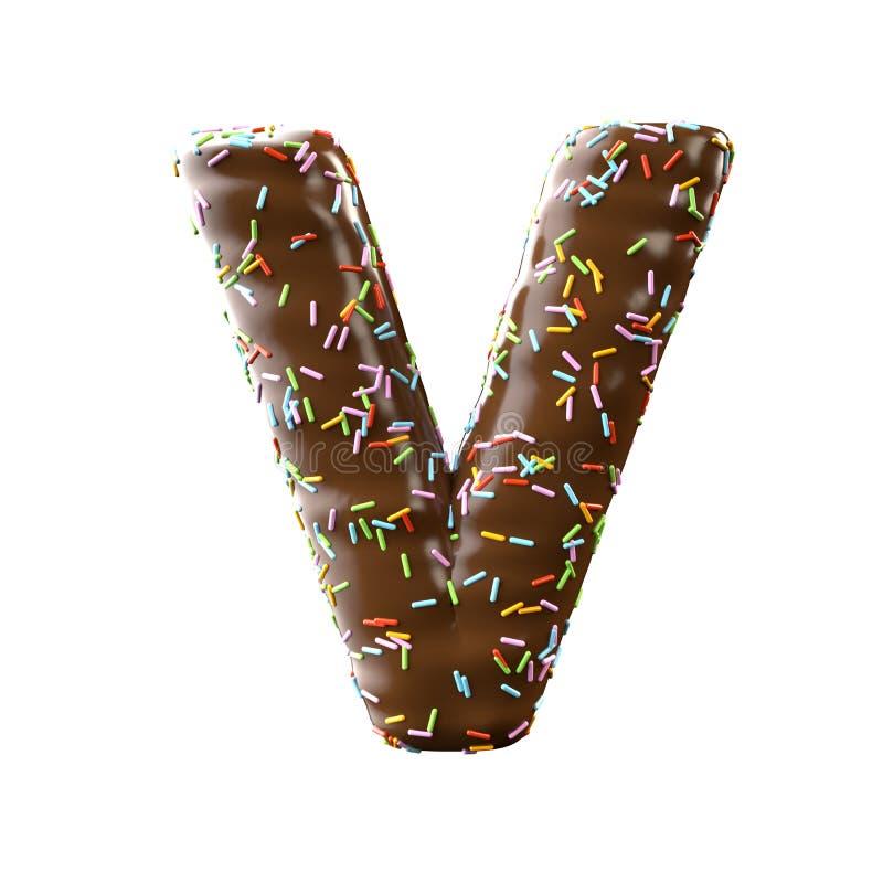 Lettre V de chocolat d'isolement sur le fond blanc illustration libre de droits