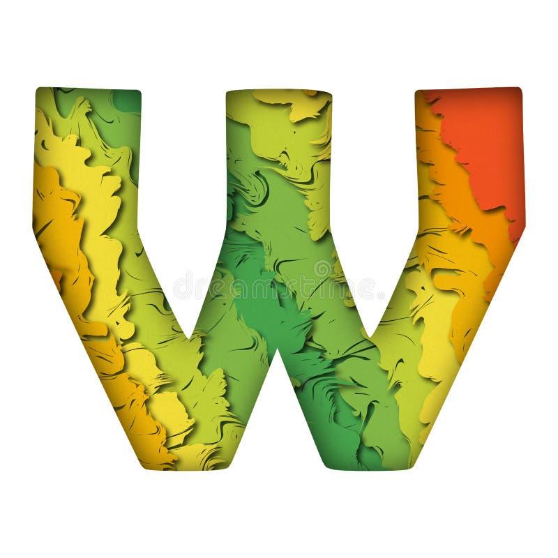 Lettre verte à la mode W de papercut photographie stock