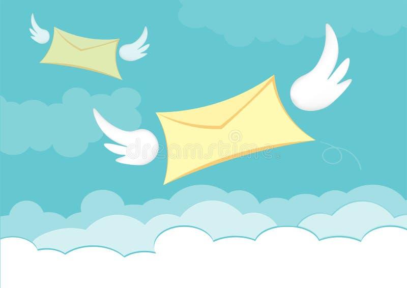 Lettre volante avec l'aile d'ange dans le vecteur de ciel bleu illustration libre de droits