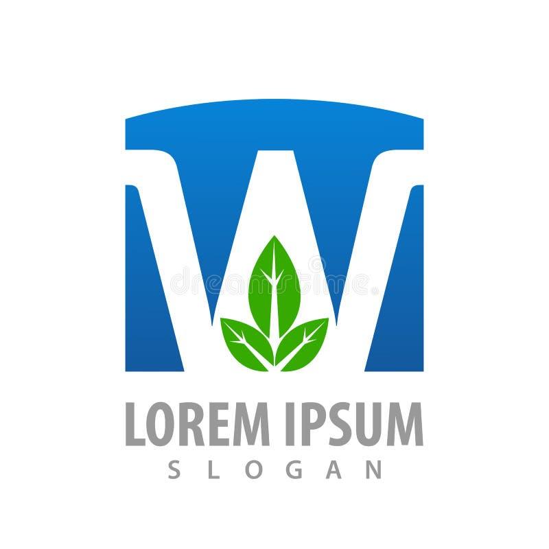 Lettre W bleue avec la conception de l'avant-projet de feuille Vecteur graphique d'élément de calibre de symbole illustration stock