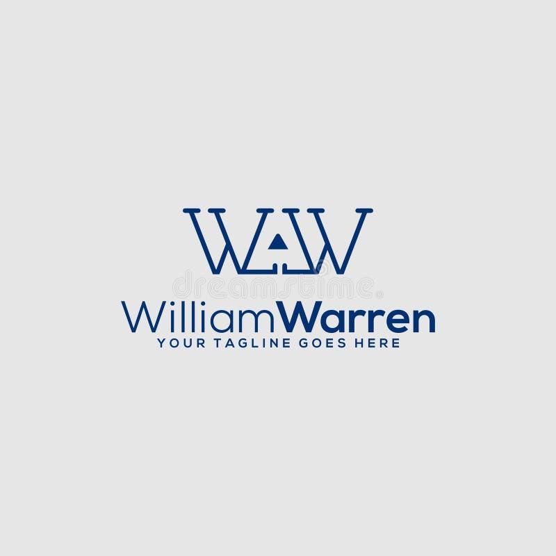 Lettre W - l'espace négatif Logo Design sur le fond clair illustration stock