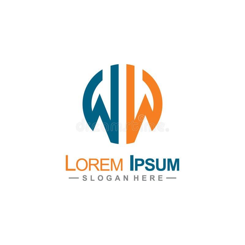 Lettre WW Logo Round Vector illustration stock
