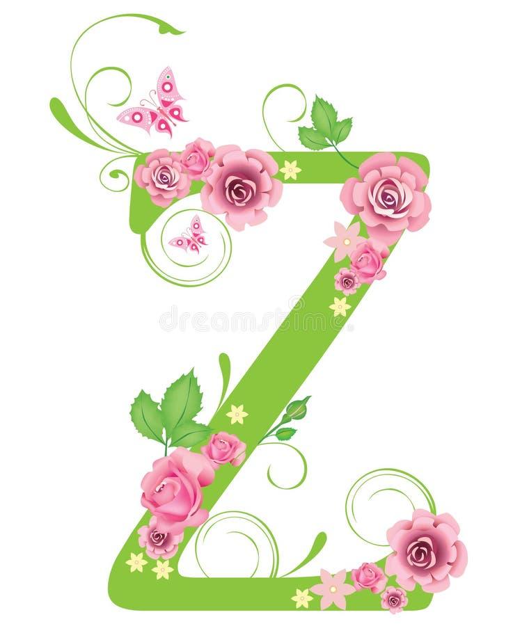 Lettre Z avec des roses illustration stock
