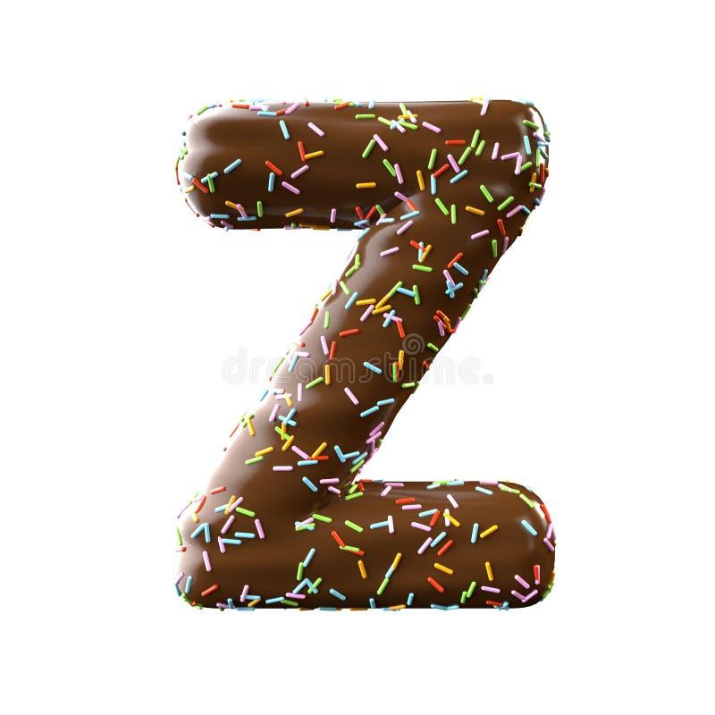 Lettre Z de chocolat d'isolement sur le fond blanc illustration libre de droits