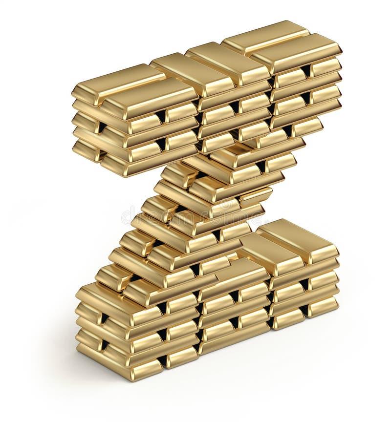 Lettre Z des barres d'or illustration de vecteur