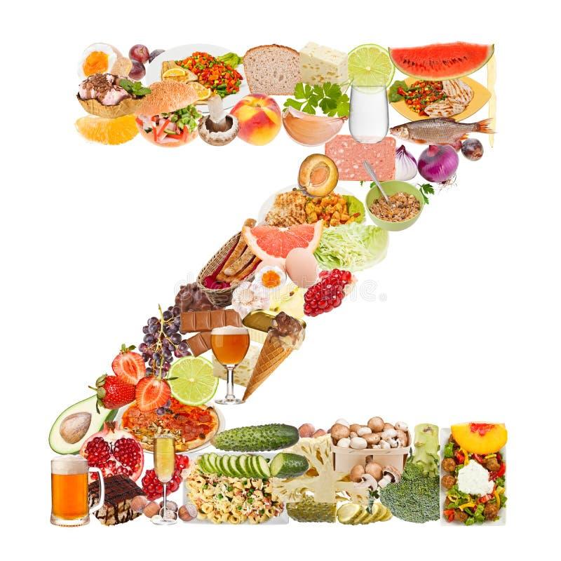 Lettre Z faite de nourriture photographie stock libre de droits